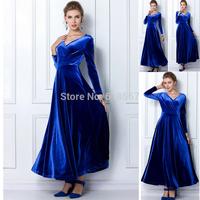 2014 Autumn and Winter One-piece party dresses Long-Sleeve Girl Dress Gold Velvet V-neck Long Dress vestido de festa Plus size