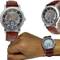 New Auto Mechanic Self-Wind Date Dial Men Luxury Skeleton Hollow Brown Leather Strap Mens Watch WristWatch Goer G1901