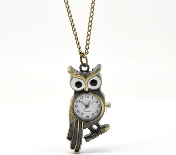 Pocket Watches New Bronze Tone Necklace Quartz Owl Pocket Watch Gift Friendship 85cm(China (Mainland))