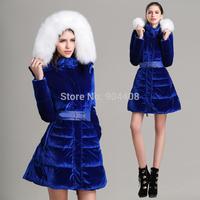 Free Shipping Gold Velvet 2014 100% Pleuche Luxury Fox Fur With A Hood Stand Collar Slim Medium-Long Blue Down Jacket
