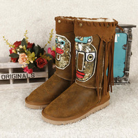 Australian sheep fur  boots female in integrated cylinder warm waterproof cotton boots flat free shipping