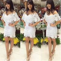 Summer 2014 Sexy Lace Slash Neck Short Sleeve Slim Dress Casual Solid White Women Vestido Vestidos De Renda Festa