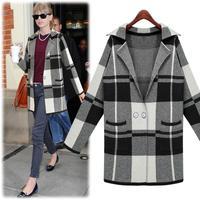 S- 5XL 2015 Women & Lady Plus size knitted Casual cardigan sweater coat/fashion women grid office long sleeve sweater coats