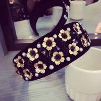 Baroque pearls black velvet jewel metal flower hair bands issuing Incredible