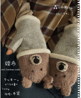 Mori Girl Lolita Style Half Finger Wool Cartoon Glove Lovely Bear Lion Winter Gloves Kawaii Fingerless Gloves Luvas De Inverno