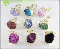 10pcs Druzy Ring,Nature Quartz Druzy Crystal Gem stone Ring,Gold tone Drusy Stone Ring Adjustable Size Jewelry findings
