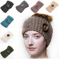 2014 New handmade Solid Big Buttons Women Knitted Headwrap Knitting crochet headbands ear warmers for Girls Teens 10 pcs/lot