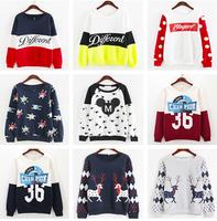 20 Model  Patchwork Colors Women Hoody Autumn Winter Fashion Cotton Hoodies Women Loose Sweatshirt Different Letters