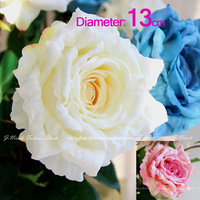 13cm ! Artificial Vivid the Queen Big Size Rose Natural Curly Petal Home Dinner Table Wedding Decorative Silk Flowers 3 Colors