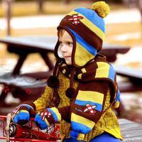 Korean Small Planes Children's Super Cute Stripe Two Piece Set Children's Hat Scarf Cap For 3 to 24 Months Baby