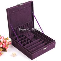Purple Jewelry display suede casket Senior jewelry box organizer case for jewelry storage XMS gift box 2014 New Fashion