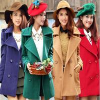 2014 fashion autumn winter new double breasted turn-down collar long women  wool coat Khaki red green dark blue
