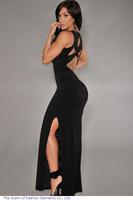 Fshion Women Black pink Summer Mermaid V-Neck Hollow Out Back Tank Long Maxi Evening Party Dress vestidos 2014