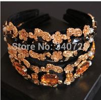 Vintage Brand Royal Baroque Alloy Rhinestone Flower Black Velvet Lace Wide Hairband Headband For Women. Fashion Hair Accessories