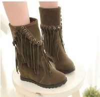 2014 Size 34-43 New Women Fashion Bohemia Tassel Short Boots Young Girls Sweet Wedges Short Boots