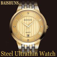 New BAISHUNS Luxury Brand Men Gold Ultra-thin Roman Numeral Dial Steel Quartz Watch With Calendar Display