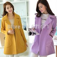2014 Winter New Women Korean Elegant Fashion Long Sleeve Slim Warm Woolen Coat Jacket Outerwear S/M/L/XL/XXL Plus Size