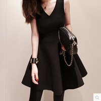 2014 basic plus size one-piece dress female puff high waist  hinggan V-neck sleeveless tank dress