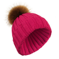 More colors 100% Natural Real Raccoon Fur Ball Hairball Wool Hats For Women Caps Acrylic Casual Knitting Men Skullies & Beanies