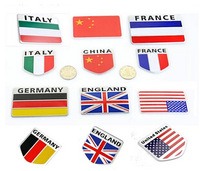 (300 pieces/lot ) Wholesale ENGLIAND Italy France UNITED STATES Germany National flay Aluminum shield Emblem Decal Badge Sticker