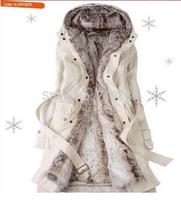Faux fur lining women's fur Hoodies Ladies coats winter warm long coat jacket cotton clothes thermal parkas Free Shipping WWM078