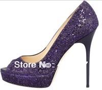 50%off 2014 classic women pumps peep toe purple sandals bling high heels female shoes
