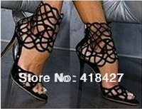 Black leather platform sandals cut out summer ankle boots thin high heels pumps wedding party dress shoes
