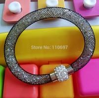 Free CN Shipping NEW 2014 HOT 12pcs/lot BLACK Fashion Net Rhinestone Women Magnetic Snap Bangle Bracelet