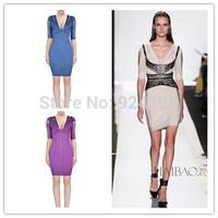 2014 New Bandage Dress purple blue beige Sexy short sleeve v cut out evening dress Club Night HL party Celebrity Dress Wholesale