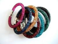 Free CN Shipping NEW 2014 HOT 12pcs/lot Mixed 6 Colors Fashion Net Rhinestone Women Lady Magnetic Snap Bangle Bracelets