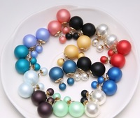 Brand New Fashion Two Ends Pearl Earring Stud Candy Color Ball Women Earrings Designer Punk Jewelry