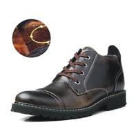 2015 British Classic Dress Oxfords Shoes Men Genuine Leather Boots Winter Gentle Ankle Boots Fur Waterproof Shoes Bota Zaptatos