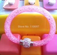 NEW 2014 HOT Whoelsale 12pcs/lot HOTPINK Fashion Net Resin Rhinestone Women Girls Magnetic Snap Bangle Bracelets