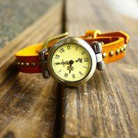 Vintage rivets roman dial cowhide genuine leather watchband bracelet watches fashion women