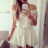 Summer 2014 New Sexy Slash Neck Short Cute Women Dress Casual Solid White Lace Vestidos De Renda Festa Vestido Branco