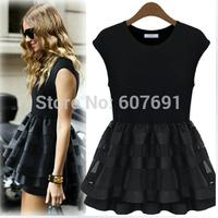 Free Shipping  2014 Round neck sleeveless dress waist net yarn splicing party dresss  FT1468