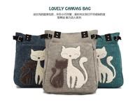 Hot selling women's handbag canvas bag with cute cat Appliques portable handbags free shipping