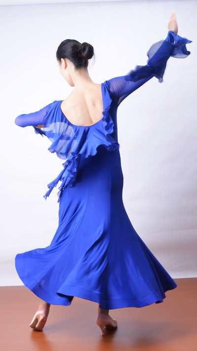 otic dance ballroom dancing ballroom backless floating yarn high fitting long sleeved dress skirt modern practice W13011(China (Mainland))