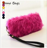 2014 autumn and winter bags Hot influx of women lovely imitation of high fur shoulder bag Messenger packet black, white z3190