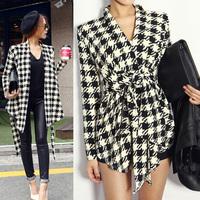 Fashion New Spring Women's Long Sleeve Houndstooth Print Open Stitch Belt Peplum Slim Jacket Cardigan Coat Top Free Shipping 646