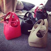 Genuine leather women shoulder bags fashion 2014 women leather handbags women tote bucket bag women food basket bag