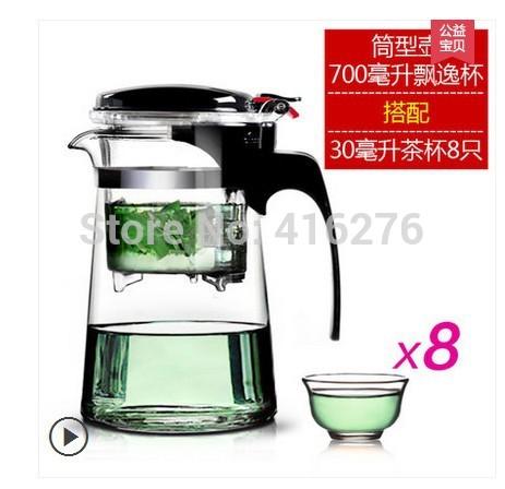 free shipping 2015 Gold heat resistant glass teapot tea set elegant cup tea pot tea cup flower pot delicate cup(China (Mainland))