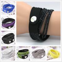 New wholesale 12 layer handmade leather bracelets men .button adjust size 21 colors charm bracelet gift