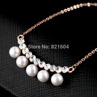 Top Austrian bijoux gold Zircon pearl jewelry Fashion Necklaces Pendant Statement Necklace for perfume women