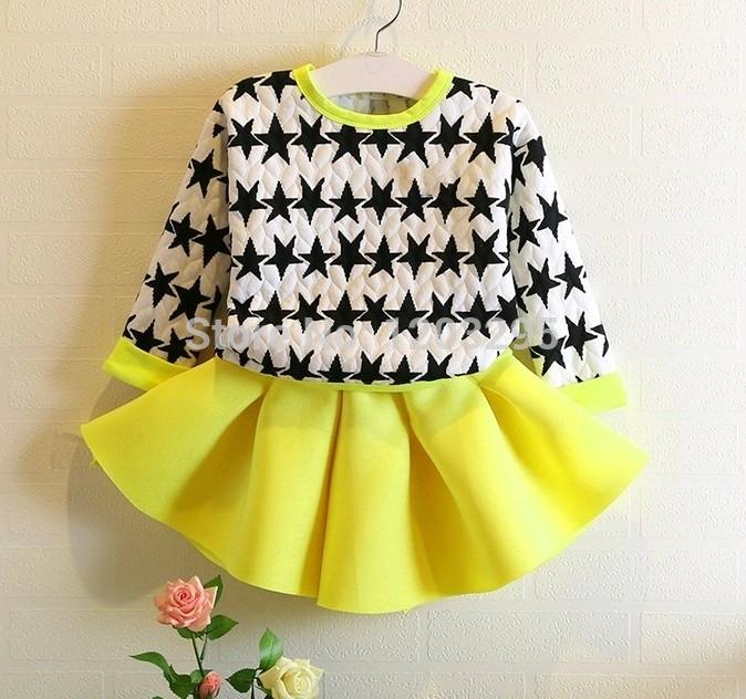 New 2014 fashion girls star hoody + fluorescence yellow skirt clothing set kids Fall outfits Suit(China (Mainland))