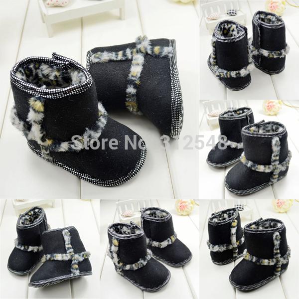 Leopardo de lã botas de neve Criança Bebé Menina BLK macio Sole Sapatinho ShoesFree & Drop Shipping(China (Mainland))