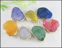 10pcs Gold Tone Nature Druzy Agate Connectors,Drusy Gem stone Pendant,Druzy Crystal Pendant Beads for bracelet,Jewelry findings