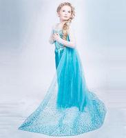 Frozen Queen Princess Elsa Anna Cartoon Girls Cosplay Costume Party Dress Birthday Christmas Gift Long Sleeve
