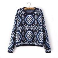 New Brand Desigenr Geometrical Pattern Women Loose Sweaters Long Sleeve Lady Warm Knitwears 2 Colors NAS4082