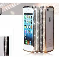 Luxury Czech Gold Rhinestone Diamond case Metal women 5s Bumper Frame Bling Case For iPhone 5 5g 5s  Bumper wholesale
